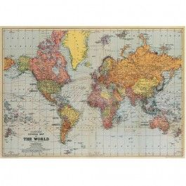 cavallini & co poster - stanford general map of the world | ilovespeelgoed.nl