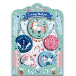 djeco kinderbuttons lovely badges - lucille | ilovespeelgoed.nl