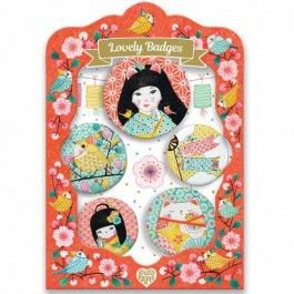 djeco kinderbuttons lovely badges - japan | ilovespeelgoed.nl