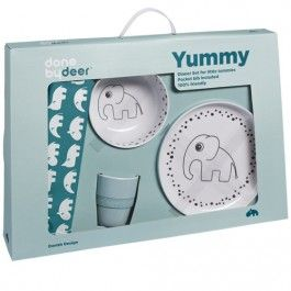 done by deer dinerset happy dots yummy - blauw | ilovespeelgoed.nl