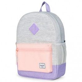 herschel rugzak heritage youth light grey cross - mauve blush 10312-01529 | ilovespeelgoed.nl