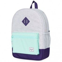 herschel rugzak heritage youth light grey cross - lucite green 10312-01608-OS | ilovespeelgoed.nl