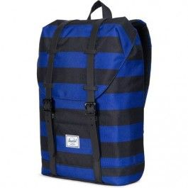 herschel rugzak retreat youth black-blue stripes 10248-01610-OS | ilovespeelgoed.nl