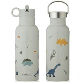 liewood rvs drinkfles neo 500ml - dino dove blue mix | ilovespeelgoed.nl
