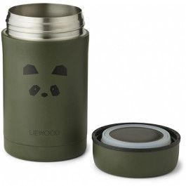 liewood thermos container 500ml - panda hunter green | ilovespeelgoed.nl
