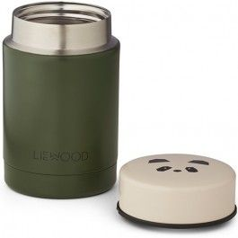 liewood thermos container 250ml - panda - hunter green | ilovespeelgoed.nl
