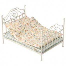 maileg vintage poppenbed wit - micro | ilovespeelgoed.nl