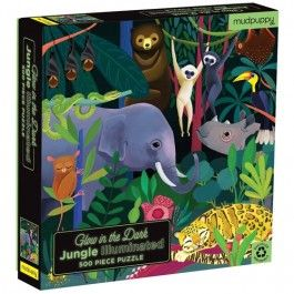 mudpuppy puzzel glow in the dark - jungle - 500st | ilovespeelgoed.nl