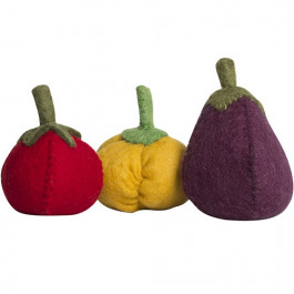 papoose toys tomaat paprika en aubergine - 3st | ilovespeelgoed.nl
