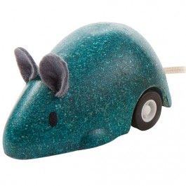 plan toys rollende muis - turquoise | ilovespeelgoed.nl