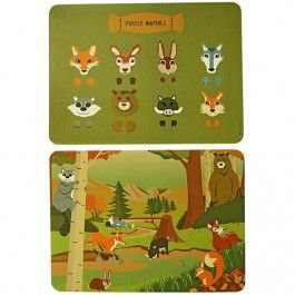 the zoo placemats - bosdieren (2st) | ilovespeelgoed.nl