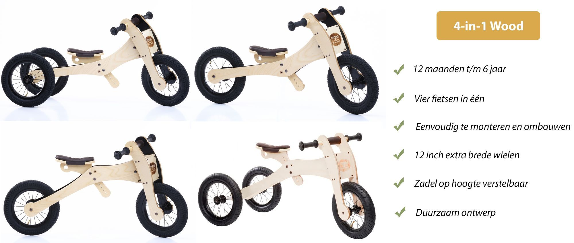 Trybike Wood 4-in-1